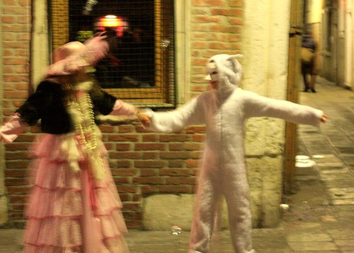 Venice Greeting Card featuring the photograph Kids Dancing During Carnevale In Venice by Michael Henderson