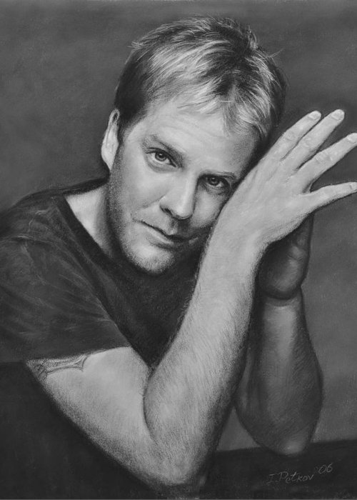 Portraits Greeting Card featuring the drawing Kiefer Sutherland by Iliyan Bozhanov