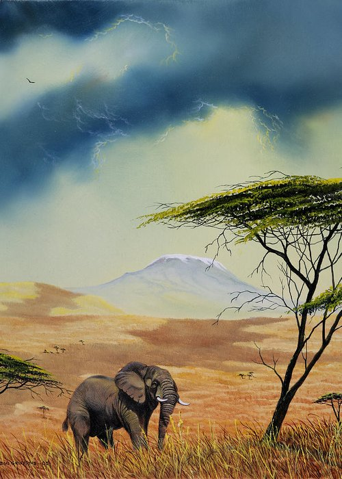 Landscape Greeting Card featuring the painting Kilimanjaro Bull by Don Griffiths