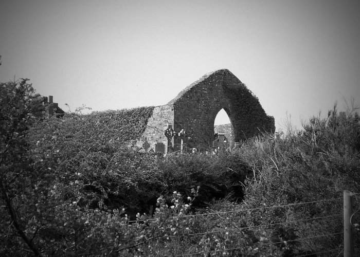 Irish Greeting Card featuring the photograph Kilmanaheen Church Ruins Ennistymon Ireland by Teresa Mucha