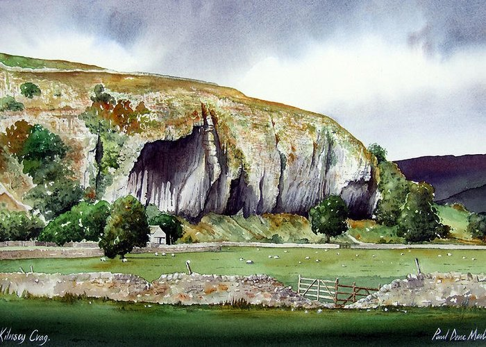 Landscape Greeting Card featuring the painting Kilnsey Crag by Paul Dene Marlor