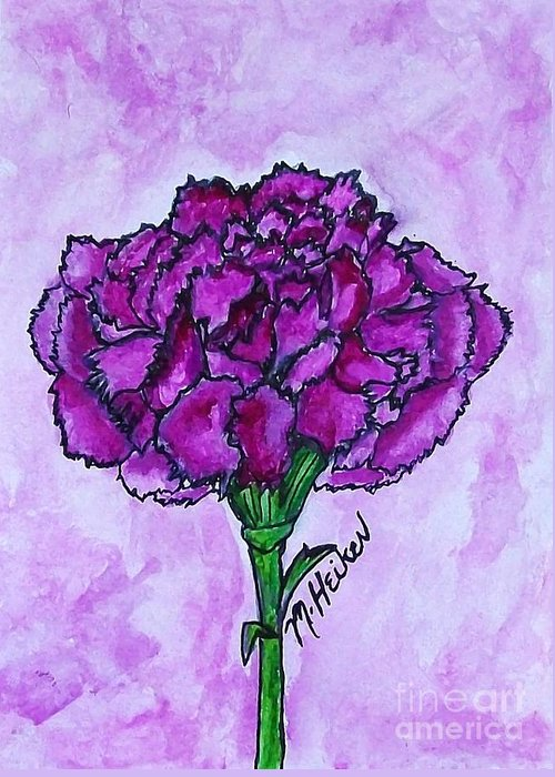 Carnation  Greeting Card featuring the painting Kimmy's Carnation by Marsha Heiken