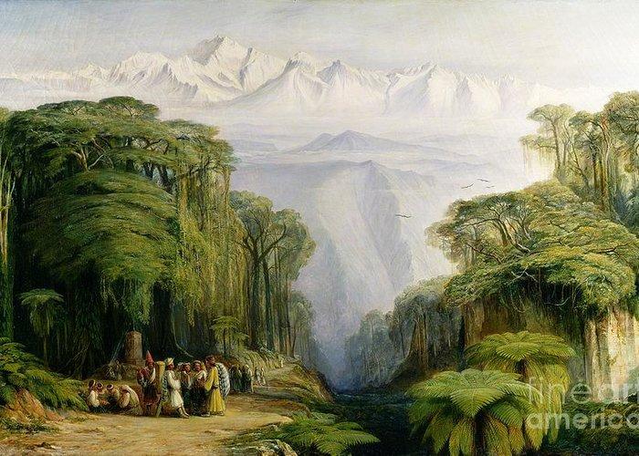 Kinchinjunga Greeting Card featuring the painting Kinchinjunga From Darjeeling by Edward Lear