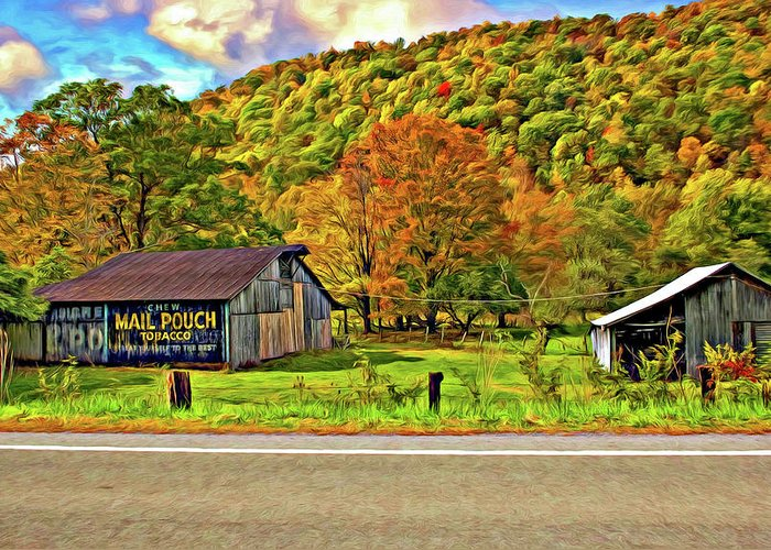 West Virginia Greeting Card featuring the photograph Kindred Barns Painted by Steve Harrington