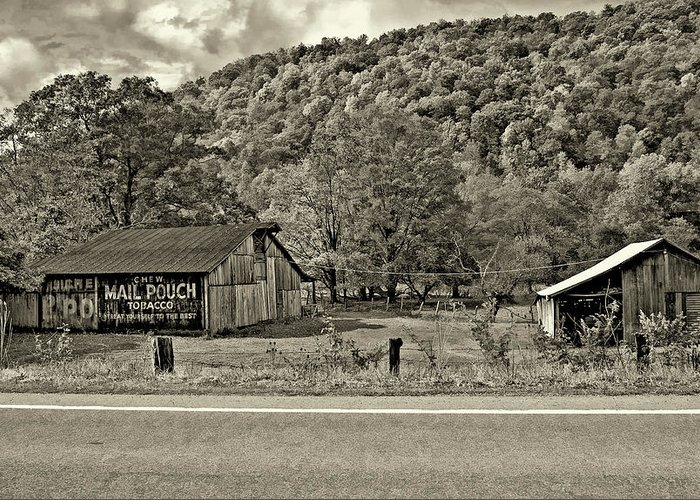 West Virginia Greeting Card featuring the photograph Kindred Barns Sepia by Steve Harrington