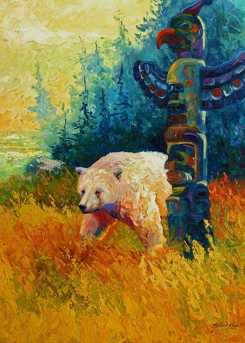Western Greeting Card featuring the painting Kindred Spirits - Kermode Spirit Bear by Marion Rose