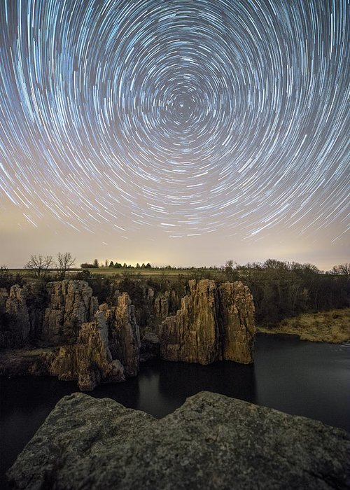 Sky Greeting Card featuring the photograph King And Queen Star Trails by Aaron J Groen