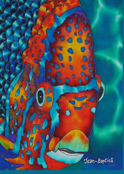 Angelfish Painting Greeting Card featuring the painting King Angelfish by Daniel Jean-Baptiste