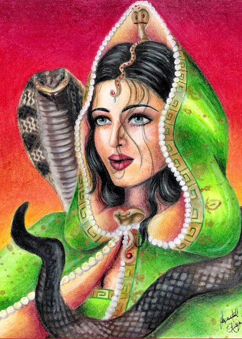Woman Greeting Card featuring the drawing King Cobra by Scarlett Royal
