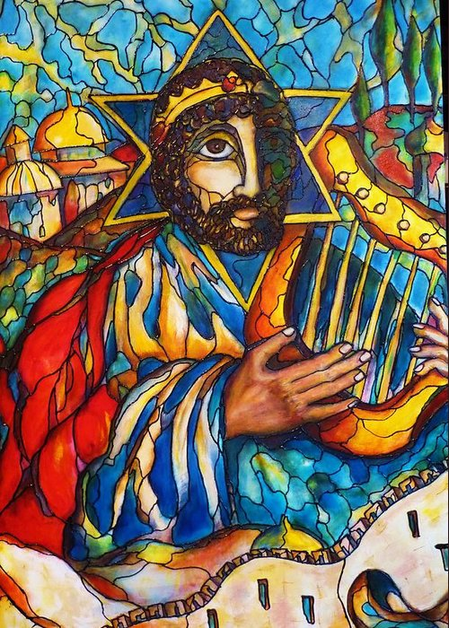 Original Art Greeting Card featuring the painting King David by Rae Chichilnitsky