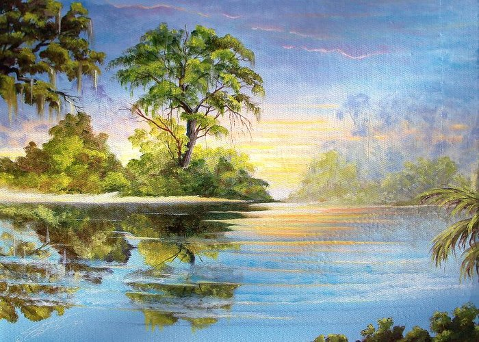 Landscape Greeting Card featuring the painting King by Dennis Vebert
