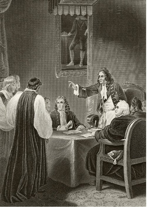 James Greeting Card featuring the drawing King James II Of England Facing Bishops by Vintage Design Pics