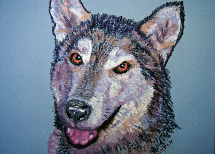 Alaskan Malamute Greeting Card featuring the painting King by Judy Fischer Walton