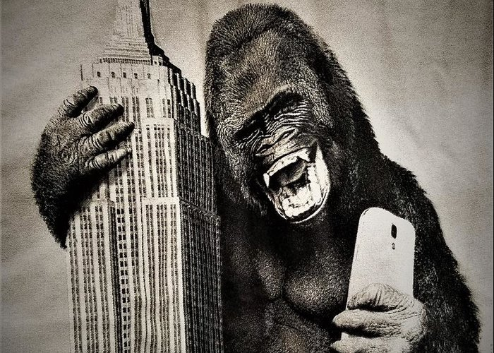 Architecture Greeting Card featuring the photograph King Kong Selfie by Rob Hans