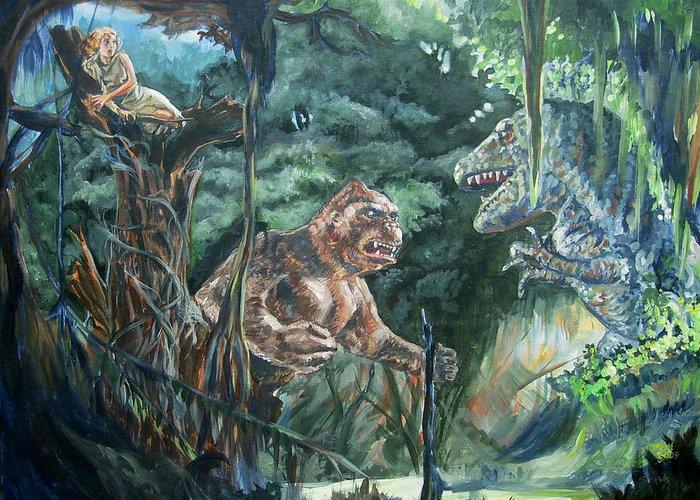King Kong Greeting Card featuring the painting King Kong vs T-Rex by Bryan Bustard