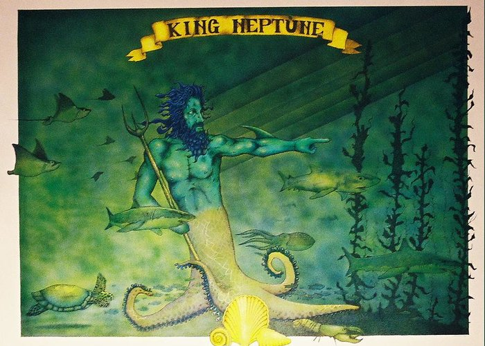 King Neptune Greeting Card featuring the painting King Neptune by Erik Loiselle