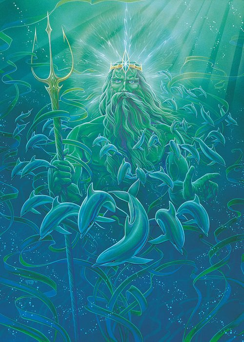 Mythological Greeting Card featuring the painting King Neptune by Richard Fields