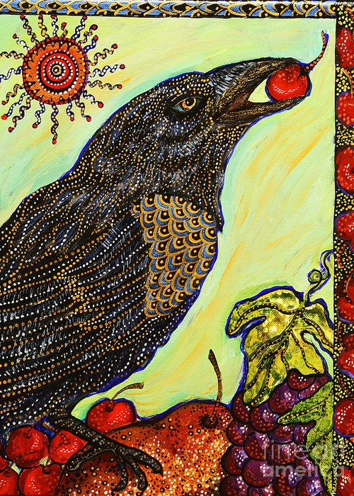 Bird Greeting Card featuring the painting King Of Bing by Melissa Cole