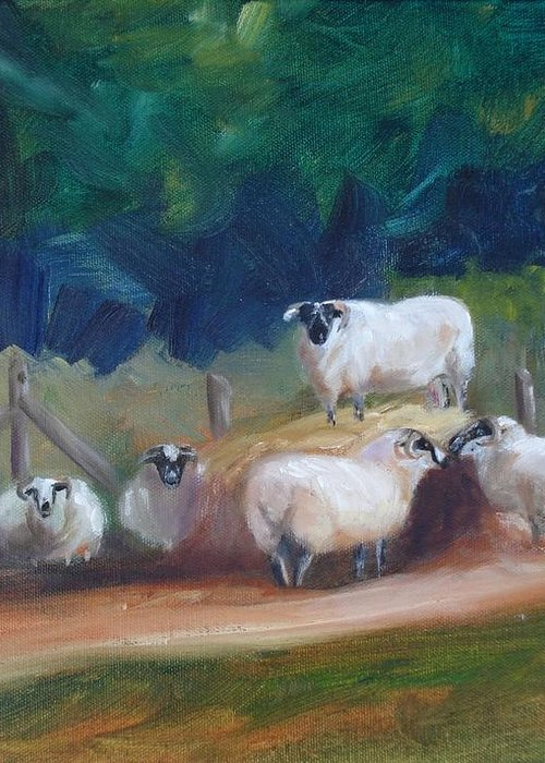 Sheep Greeting Card featuring the painting King Of Green Hill Farm by Donna Tuten