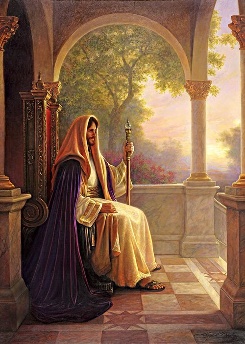 Jesus Greeting Card featuring the painting King Of Kings by Greg Olsen