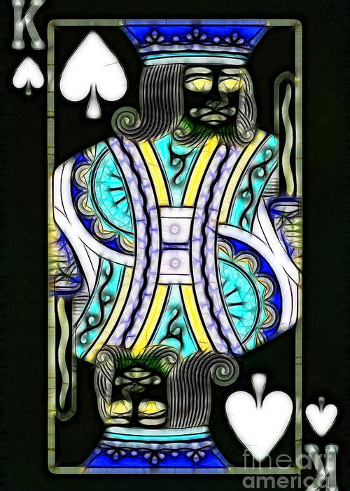 Card Greeting Card featuring the photograph King Of Spades - V2 by Wingsdomain Art and Photography