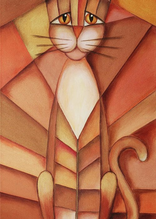 Paint Greeting Card featuring the painting King Of The Cats by Jutta Maria Pusl