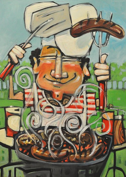 Guy Greeting Card featuring the painting King Of The Grill by Tim Nyberg