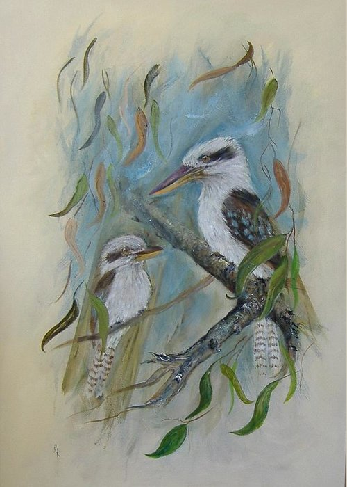 Birds Greeting Card featuring the painting King Of The Woods by Rita Palm