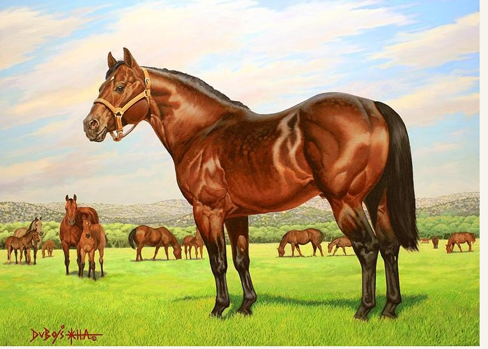 Quarter Horse Greeting Card featuring the painting King P-234 No.two by Howard Dubois