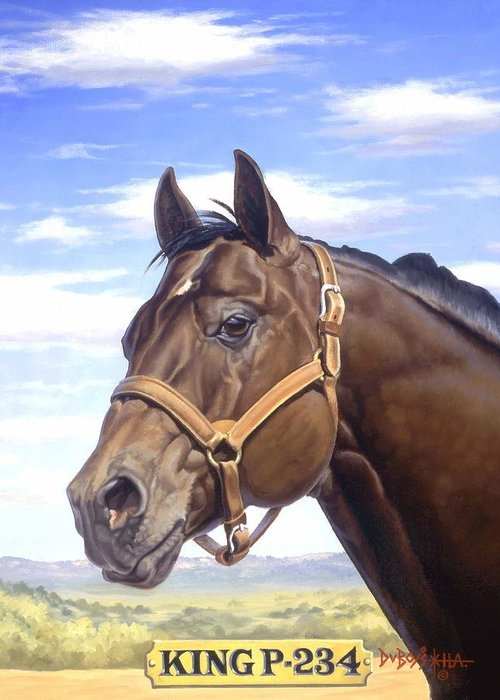 Quarter Horse Greeting Card featuring the painting King P234 by Howard Dubois