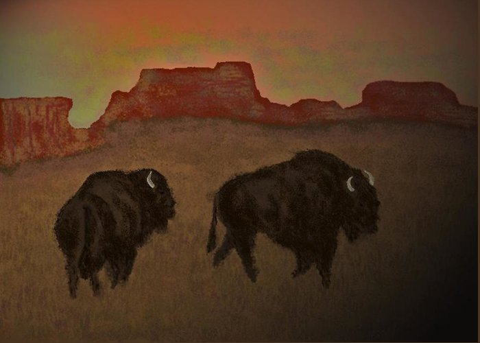 Bison Greeting Card featuring the digital art Kings Of The Plain The Ending Of An Era by Carole Boyd