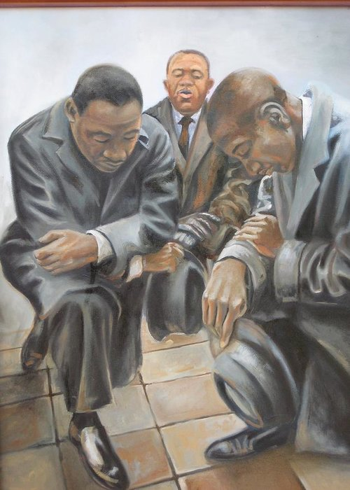 History Greeting Card featuring the painting Kings Prayer At Selma by Todd Gates