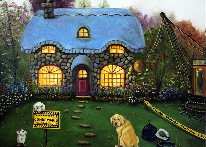 Dog Greeting Card featuring the painting Kinkade's Worst Nightmare 2 by Leah Saulnier The Painting Maniac