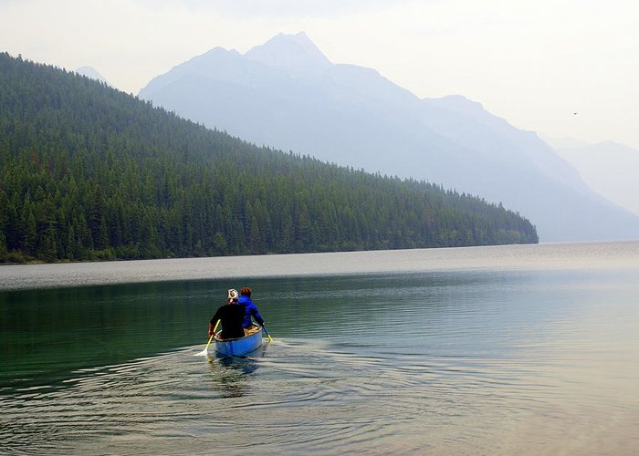 Mountains Greeting Card featuring the photograph Kintla Lake Paddlers by Marty Koch