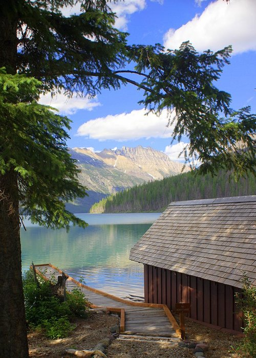Glacier National Park Greeting Card featuring the photograph Kintla Lake Ranger Station Glacier National Park by Marty Koch