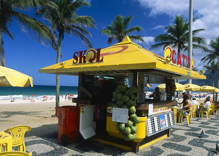 Kiosk on ipanema beach greeting card for sale by george oze atlantic ocean greeting card featuring the photograph kiosk on ipanema beach by george oze m4hsunfo