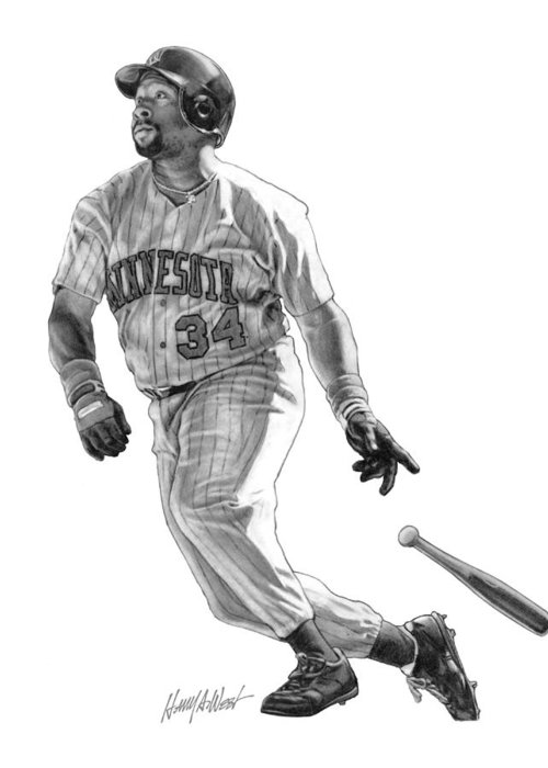 Kirby Puckett Greeting Card featuring the drawing Kirby Puckett by Harry West