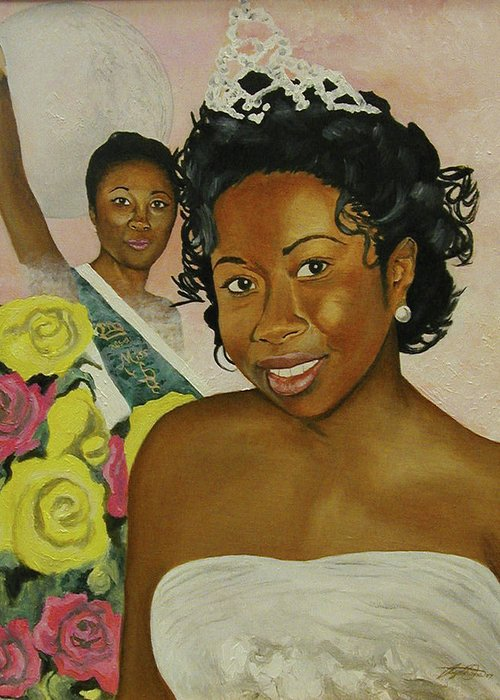African American Queen Greeting Card featuring the painting Kirsten by Angelo Thomas