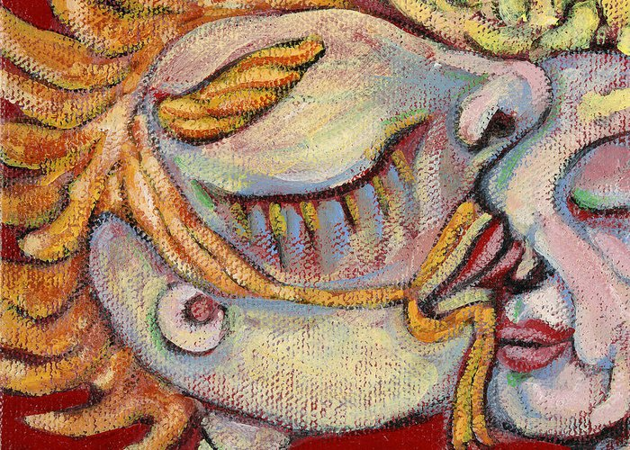 Kissing Greeting Card featuring the painting Kiss On The Nose by Michelle Spiziri