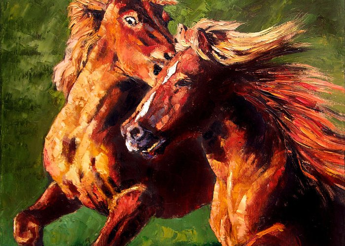 Horses Running Greeting Card featuring the painting Kiss On The Run by John Lautermilch