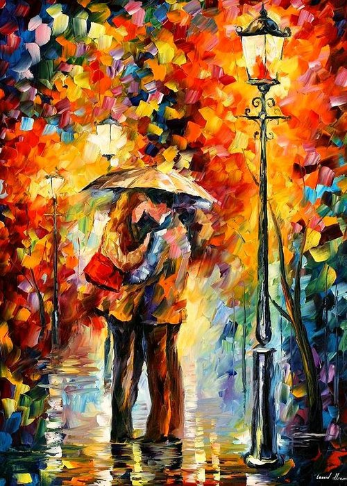 Afremov Greeting Card featuring the painting Kiss Under The Rain by Leonid Afremov