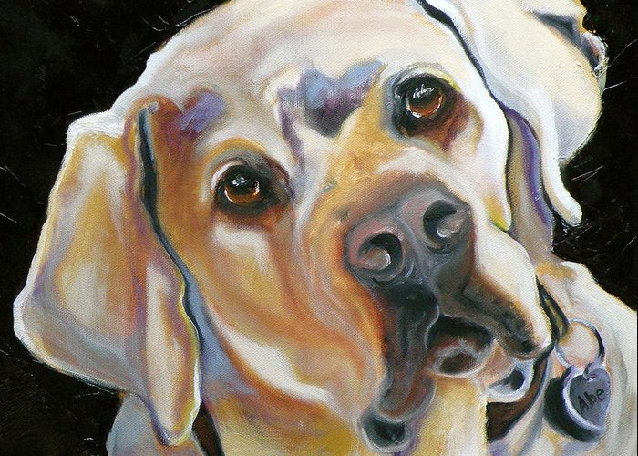 Yellow Lab Paintings Greeting Card featuring the painting Kissably Close Lab by Susan A Becker