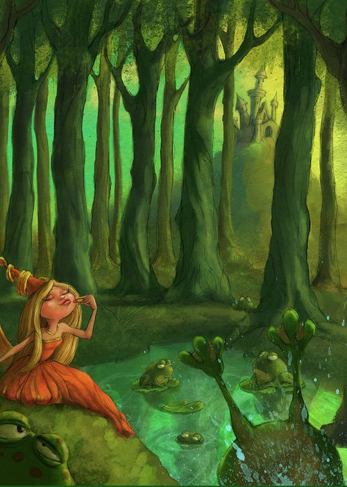 Princess Greeting Card featuring the digital art Kissing Frogs by Andy Catling