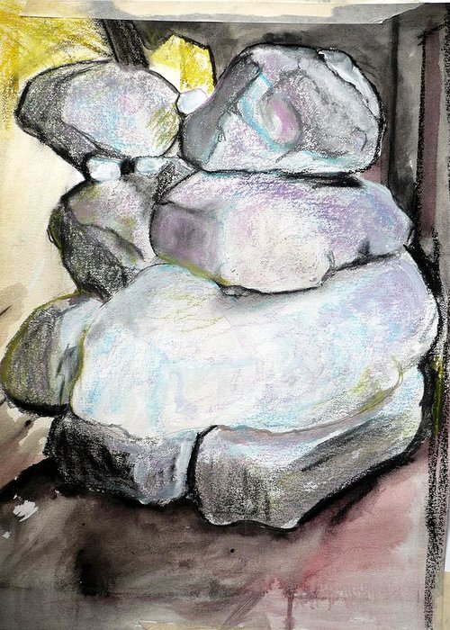 Charcoal Greeting Card featuring the pastel Kissing Rocks by Jane Clatworthy