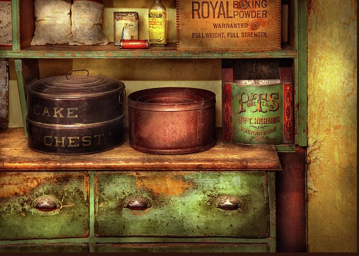 Suburbanscenes Greeting Card featuring the photograph Kitchen - Food - The Cake Chest by Mike Savad