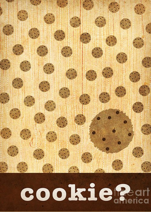 Kitchen Greeting Card featuring the mixed media Kitchen Art - Cookie by Linda Tieu