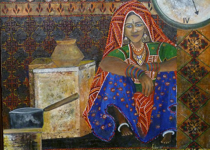 People Greeting Card featuring the painting Kitchen Flower by Fehmida Haider