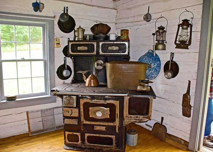 Kitchen Stove In Old Victoria Greeting Card featuring the photograph Kitchen Stove In Old Victoria-michigan by Ruth Hager