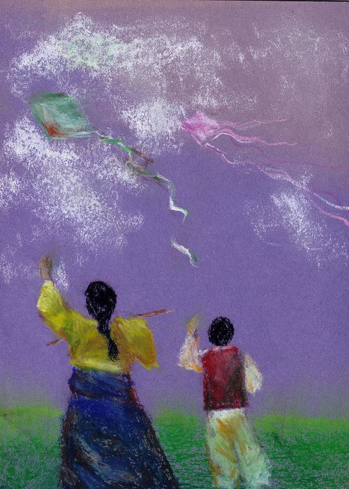 Flying Kite In A Sunny Day-oil Pastel Greeting Card featuring the drawing Kite Flying by Mui-Joo Wee