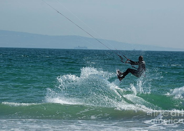 Abilities Greeting Card featuring the photograph Kite Surfer Jumping Over A Wave by Sami Sarkis